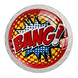 Bang! Schubladengriffe mit Comic-Wort-Motiv, für Schrank, Frisiertisch, Kommode, mit Schrauben, 4 Stück