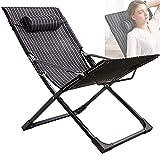 ZYQDRZ Stuhl Klappbarer Terrassenliegestuhl Mit Verstellbarer Aufbewahrungstasche Für Die Kopfstütze, Klappbare Liegecouch in Der Mittagspause,Schwarz