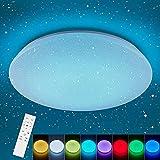 Anten Deckenlampe Wizard   36W RGBW-Farbwechsel   Mit Sternenhimmel, Fernbedienung, Nachtlicht und- Memory Funktion   Weiß   rund Ø 40cm   LED Deckenleuchte dimmbar für Kinder-, Schlaf- und Wohnzimmer
