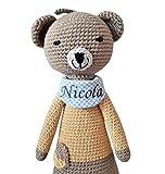 handgefertigte Baby Spieluhr - mit Namen personalisierte Baby Geschenke Junge Mädchen - Teddy - Melodie: Lalelu - 24 cm - braun/senfgelb
