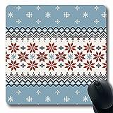 Mousepad Oblong Weihnachten Dezember Norwegische Pullover Muster Feiertage Winter Pixel Schneeflocke Traditionelle Feiertage rutschfeste Gummi Mauspad Büro Computer Laptop Spielmatte