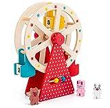 XIAPIA Holzspielzeug Riesenrad mit 3 Tierfiguren   Kinder Motorikspielzeug für Jungen und Mädchen ab 3 Jahre BPA Frei Lernspielzeug für Baby als Weihnacht Geburtztag New Jahr Geschenk
