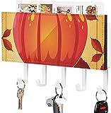 Schlüsselhalter, Wandmontage, mit orangefarbenem Herbst-Kürbis-Ahornblättern, Grafiken, Wandeingang, Briefhalter, dekorativer Schlüssel-Organizer mit 5 Haken, Weiß