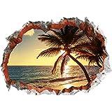 3D Wandtattoo 'Strand mit Palme' | dreidimensional, selbsthaftend, abwaschbar | einfach anzubringen und abzulösen | 70 x 100 cm [Motiv: 'Strand mit Palme']