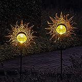 Gadgy Solarlampen für Außen mit Erdspieß Sonne | Set mit 2 Stück | LED Gartenstecker aus Metall | Solarlichter für den Garten | Outdoor Terassendek