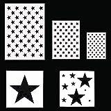 5 Stück Amerikanische Flagge 50 Sterne Schablone Schablone zum Malen auf Holz, Stoff, Papier, Airbrush, Wände Kunst (A)