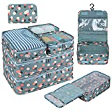 DIMJ 8 stück Koffer Organizer, Kleidertaschen Set für Reise mit Schuhtasche Kulturtasche Kabel Organizer (Blau Blume)