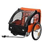 ADHW Kinderanhänger für 2 Kinder Stahlrahmen Sitzträger mit Sicherheitsgurt (Color : Orange+Schwarz)