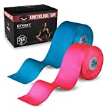 Effekt Manufaktur - (5m x 5cm) Rolle - Kinesiologie Tape in versch. Farben (2er Set) - Kinesiotapes Wasserfest & Elastisch für Sport - Kinesiotape Physio Tape Kinesio Tapes (Blau + Pink)