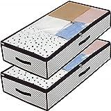 Kevin Bin 2 Stück Unterbetttasche, Unterbettkommode, Unterbett-Aufbewahrungstasche, Kleidung Lagerplätze, Decken Organisator Lagerbehälter, Haus bewegen Tasche, 100 x50 x18 cm, 7X3GR100L