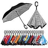 Eono by Amazon - Inverted Stockschirme, Winddicht Regenschirm, Reverse Stockschirme mit C Griff, Selbst Stehend, Double Layer, Schützen vor Sturm Wind, Regen und UV-Strahlung, Weißer Punkt
