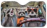 OK Cars AZ-SAA-043 Auto Frontscheibe, Sonnenschutz für die Windschutzscheibe, Frontscheibenabdeckung mit Motiv Waschbär, 130x70cm
