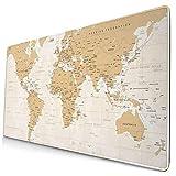 Gaming-Mauspad, Premium-strukturierte Mauspad-Pads, niedliches Mousepad für Spieler, Büro und Zuhause Grün Rot Europa Vintage Weltkarte Detailliert Braun USA