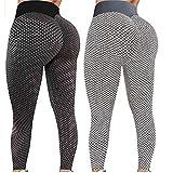 iSayhong Damen-Leggings, TikTok, 2 Stück, 01-schwarz+grau, S