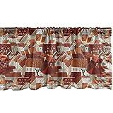 ABAKUHAUS Stadt Fenster Volant, Ziegeldach Muster Städtische, Vorhang Volant für Küche Schlafzimmer Dekor mit Stangentasche, 137 cm X 30 cm, Mehrfarbig