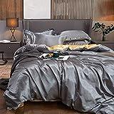 Bedding-LZ bettwäsche 200 x 200cm 3 teilig,Anti-Filamentrosa High-End-Multi-Farb-Sommer-Liebes-Seide-Skis-Sleeper-Hülse Vier-teiliges Set-H_2,0 m Bett (4 Stück)