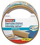 tesa Doppelseitiges Klebeband Universal - Vielseitiges Klebeband für Verpackungen, Deko und Teppiche oder zum Basteln - 5 m x 50