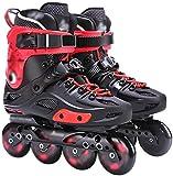 Haojie Rollschuhe Erwachsene Erwachsene männliche und weibliche College Studenten Professionelle Rollschuhe Anfänger Flache Fantastische Skates,Rot,39