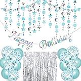 Irichna Türkis Geburtstag Party Deko - Happy Birthday Girlande,Glitter Sterne und Kreise Girlande,Konfetti Ballons,Blau Latex Luftballons,Glitzer Vorhang für Mädchen Geburtstagsdeko für Frauen Männer