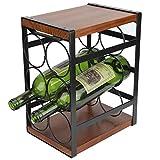 3 Tier Flaschenregal, Flaschenhalter Weinregal klein Weinflaschenhalter aus Metall für bis zu 6 Flaschen für Bar Weinkeller, Küche Keller gestellt werden 17,7 x 24 x 31,5 cm