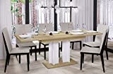 Esstisch Aurora 170 ausziehbar erweiterbar Küchentisch Säulentisch Weiß Bicolour (Riviera Eiche)