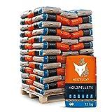 HEIZFUXX Holzpellets Blue Heizpellets Nadelholz Wood Pellet Öko Energie Heizung Kessel Sackware 6mm 15kg x 65 Sack 975kg / 1 Palette Palig