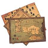 Game of Thrones Poster 3er Set mit Weltkarte, Karte Westeros, Familienstammbaum