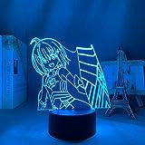3D Nachtlicht Led Nachtlicht Anime Ich Möchte Nicht Verletzt Werden, Also Werde Ich Mein Verteidigungsschlafzimmer Für Dekortischlampe Manga Bofuri Geschenk Maximal Ausnutzen-7 Farben, Touch-Steuerung