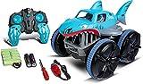 Carson 500404221 Amphi Shark 2.4GHz 100% RTR - Ferngesteuertes Wasserfahrzeug, Outdoor, für Kinder ab 8 Jahren, inkl. Batterien Fernsteuerung, Blau