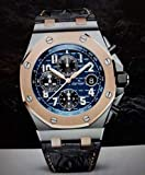 HHBB Aaa+ 1 Luxus-Marke Echtleder-Chronograph Herrenuhr Stoppuhr Blau Schwarz Rotgold Saphir Kristall Uhren