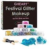 Glitzer Make up für Gesicht, Körper und Haare – Chunky Festival Glitzer Gel für Lippen, Body Glitzer Sequin – Haarglitter für Partys und Karneval - 12 Farben (12 Farben) (12 Farben)