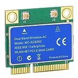 Goshyda Stabile Mini PCI-E Wireless-Karte, 1200 M Dualband 2,4 GHz / 5 GHz Wireless Bluetooth-Netzwerkkarte 8260 WLAN + BT 2-in-1 MC8260
