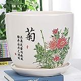 M-zen Blumentöpfe Home Indoor Planter Pot Keramikblumentopf Sukkulenten Indoor Einfache Wohnzimmerpflanzen Mit Tablett Blumentopf Dekorativer Innen- Oder Außenbereich Für Bonsai-Pflanzen