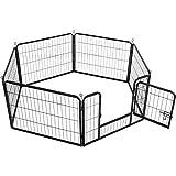 Yaheetech Welpenlaufstall 6- Elemente Freigehege Hunde Welpengitter 80x 60 cm Innen/Außenb