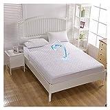 QIANGU Spannbettlaken, rutschfest, atmungsaktiv, wasserdicht, mit Röcken, Polyester, weiß, für Schlafzimmer, Hotels (Größe: 180 x 200 cm + 30 cm)
