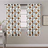 LTHCELE Blickdicht Vorhang für Schlafzimmer - Sport Basketball Fußball Muster - 3D Druckmuster Öse Thermisch isoliert - 150 x 166 cm - 90% Blickdicht Vorhang für Kinder Jungen Mädchen Spielzimmer