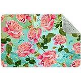 Bennigiry Teppich mit roten Rosen und Schmetterlingen, Vintage-Musik-Hintergrund, Teppich, für Wohnzimmer, Schlafzimmer, Spielzimmer, 78,7 x 50,8