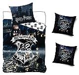 Fun Unlimited Aktion Original Harry Potter Bettwäsche Wendebettwäsche Set, 4-teilig, 135 x 200 cm, 80 x 80 cm, 100% Baumwolle, Linon, Hogwarts Schule, 2 x Kissenbezug 40 x 40 cm