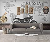 XHXI Fototapete Graffiti Abstrakte Weltkarte Wanddekoration Retro Vintage Wandtapete Foto Poster Wanddekoration fototapete 3d Tapete effekt Vlies wandbild Schlafzimmer-430cm×300cm