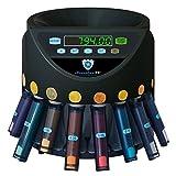 Automatischer Euro Münzzähler & -sortierer Geldzählmaschine SR1200 mit Abhülsung Geldzähler Münzzählautomat Securina24 (schwarz - BBB)
