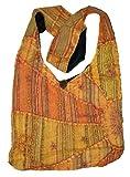 Handtasche / Handtasche, bestickt, Peace und Sonnenaufgang, Boho-Stil, Orange