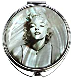ATUIO MADDesign Marilyn Monroe Makeup Mirror Mother of Pearl Metal Dual Compact Folding Magnify Gray