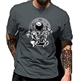 T-Shirt Herren Sommer Kreative Mode Astronaut Skateboard Druck Herren Shirt Modern Basic Regular Fit Rundhals Herren Freizeithemden Täglich All-Match Kurzarm