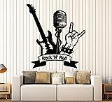 Art of Aufkleber groß Vinyl Wandtattoo Aufkleber Rock 'n 'Roll Gitarre Mikrofon Musik Aufkleber groß Decor 471