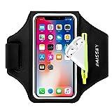 Sportarmband Mit Airpods Tasche Sportarmband Handytasche Sport für iPhone 12 Pro/11/11 Pro/XR/XS/X/8 Plus/7 Plus/8/7/6s/6,Huawei P20 Pro/P30 Pro/Mate 20 Xiaomi,LG Handyhülle Running Armband (Schwarz)