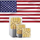 Prepaid-SIM-Karte - Unbegrenzte Internet-Daten USA, 5GB Roaming Kanada und Mexiko - Unbegrenzte Anrufe und Tex