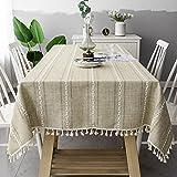 Rechteckige Baumwoll-Tischdecke mit Spitze und Streifen, Wohnzimmer- oder Hochzeitszimmer-Dekoration-Tischdecke, staubdicht 140x180cm D