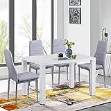 GOLDFAN Esszimmergruppe mit Esstisch und 4 Grau Essstühlen und Küchentisch Hochglanz Quadratischer Tisch Set für Wohnzimmer Küche Bü