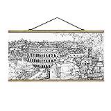 Stoffbild mit Posterleisten - Stadtstudie - Rom 50cm x 100cm Eiche