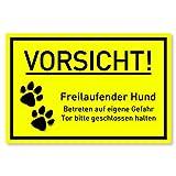 Vorsicht Hund Schild (30x20 cm Kunststoff) - Hundeschilder - Warnung vor dem Hund Schilder - Hundeschild Wetterfest - Hundewarnschilder - Achtung bissiger Hund (Neongelb)